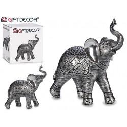 Elefante resina grande plata